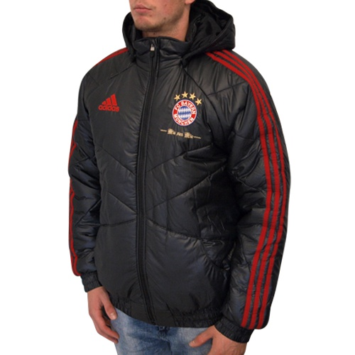 adidas fc bayern padded jacket schwarz fussball fan. Black Bedroom Furniture Sets. Home Design Ideas