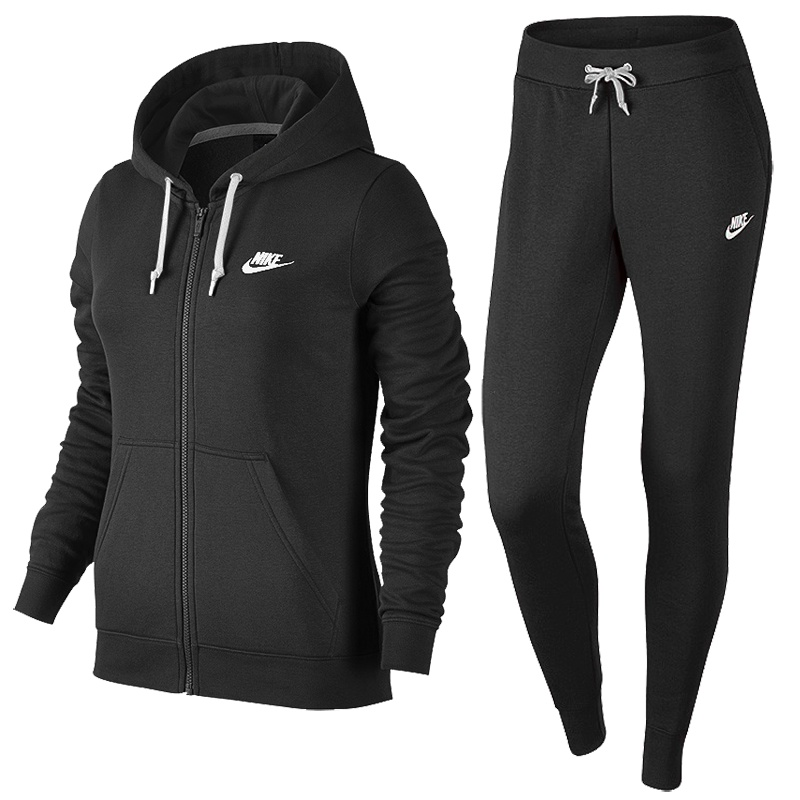 nike sportswear track suit fleece women schwarz freizeit trainingsanzuege bei. Black Bedroom Furniture Sets. Home Design Ideas