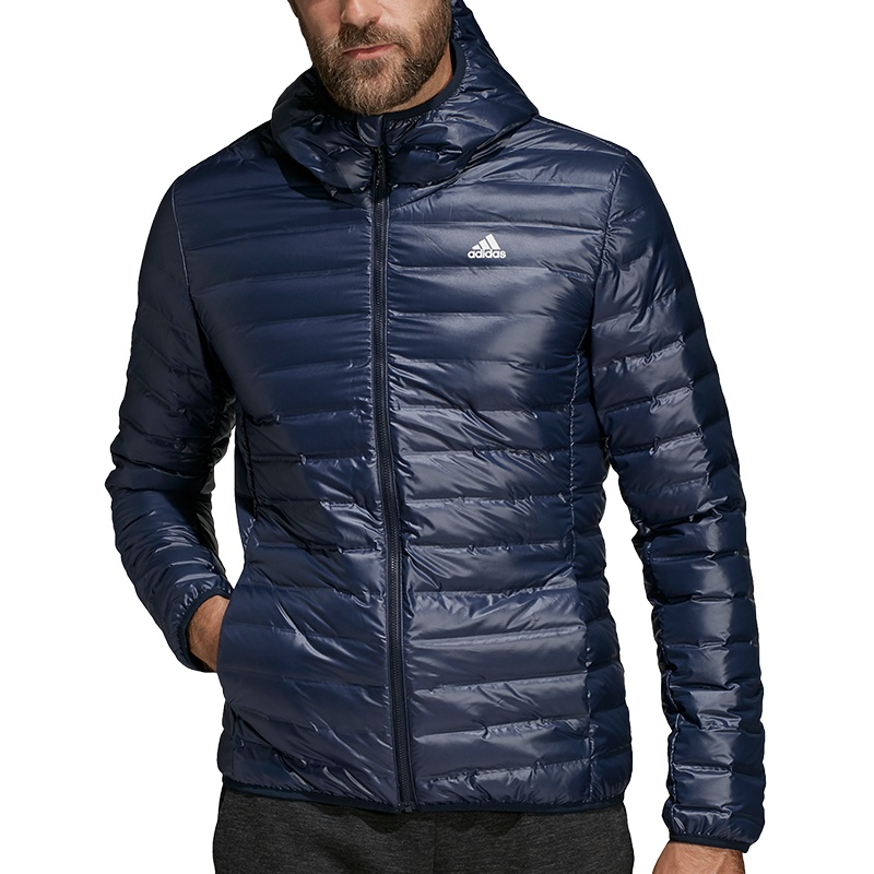 Adidas Varilite Hooded Down Jacket, Größe S in Blau