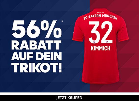 Spare jetzt 56% auf dein FC Bayern München Trikot!