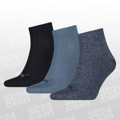 Quarter Plain Socks 3-PACK