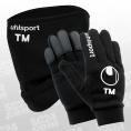 uhlsport 10x Spielerhandschuhe + 10x Fleece Tube (inkl. Initialen) Set schwarz/weiss Größe 11